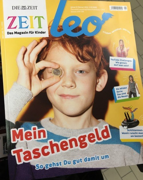 Prominent one-eye sign of the cover of German publication ZEIT leo - the 'magazine for children'. Gotta get them young.