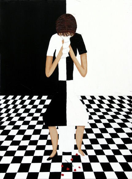 This painting by mind control survivor Kim Noble depicts a crying girl on a dualistic checkerboard floor. The girl is dressed in a fully dualistic matter (even her shoes) which represents the split of the personality of the slave.