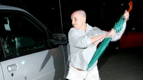 Industry slave Britney Spears attacking a car during her infamous breakdown in 2008.