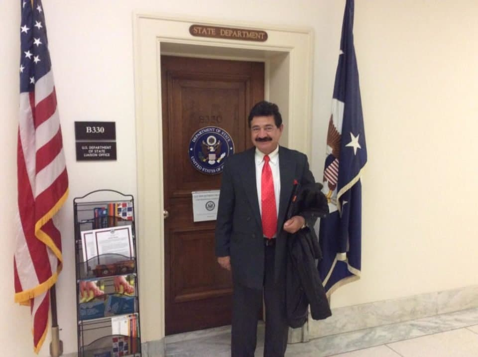 This is Seddiq Mateen, the father of Omar Mateen, the Orlando massacre terrorist. He is standing in front of the State Department office in Washington. According to several sources, he was seen visiting Washington a few times where he met with high level politicians.