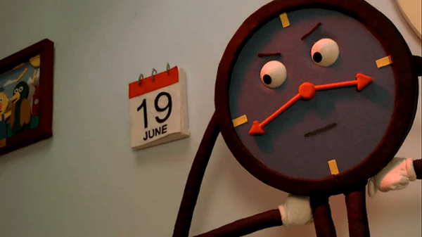 The clock gets extremely angry when Duck Guy proposes an alternative definition of time. It also creepily watches on as time fast forwards and the puppets experiment decay in real time.