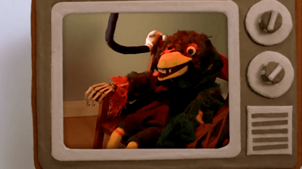 The puppets freak out as they see death in fast forward. Trauma.