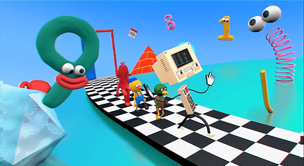 In the digital world, the friends follow a checkerboard pattern floor, implying they are following the programming laid out by the handler. A bunch of googly eyes and a pyramid appear in the background, basic occult elite imagery.