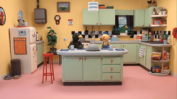Duck Guy and Yellow Guy are too programmed to realize that Red Guy is gone. Notice Computer Guy on the fridge.