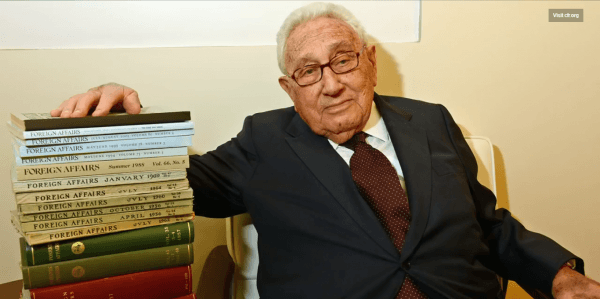 The video shows Henry Kissinger next to a pile of Foreign Affairs publications (published by the CFR). In case you didn't know, Henry Kissinger basically shaped the world as we know by dictating the US foreign policy for decades.