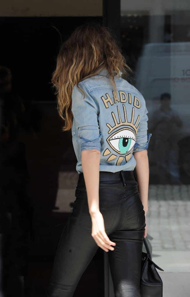Speaking of the Eye, Gigi Hadid is wearing it right on her back, with her name above it.
