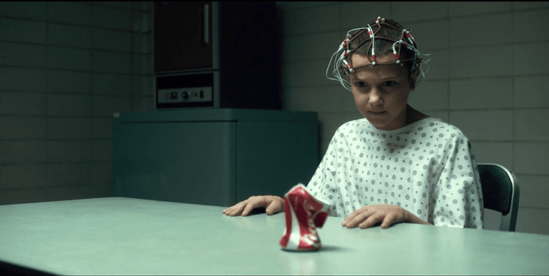 Eleven bends a can using with her mind.