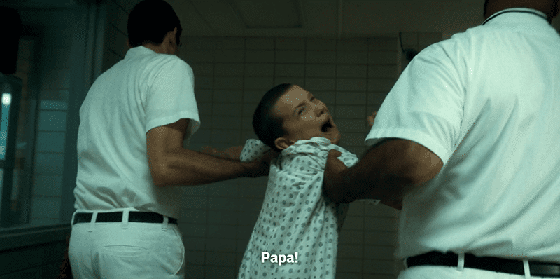 "When Eleven did not do as told by her handler, she was thrown in a dark cell - while her ""Papa"" watched on coldly."