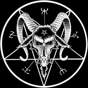 The symbol features a Baphomet head with an inverted pentagram (symbol of Black magick) on its forehead inside another inverted pentagram.
