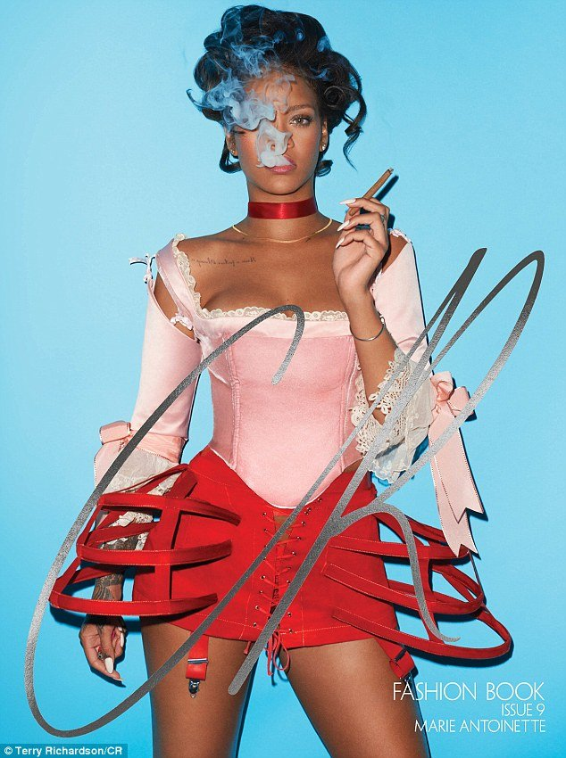 Rihanna was featured in CR in a photoshoot by the elite's other favorite photographer: Terry Richardson. Through perfectly timed (and maybe photoshopped) smoke, the One-Eye sign is recreated again.