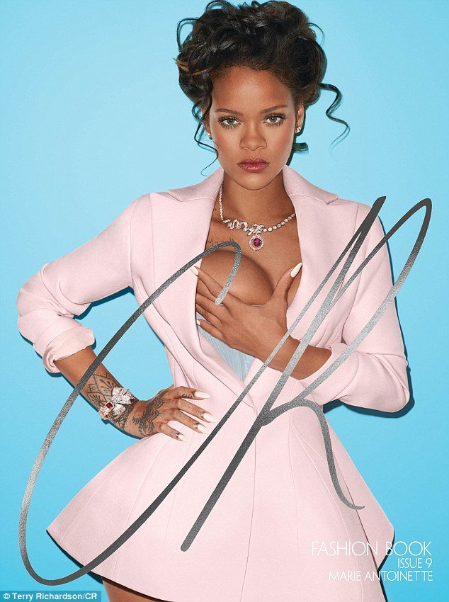 The photoshoot is meant to represent Rihanna as Marie Antoinette, the last Queen of France who was disliked due to ever rumored promiscuity and her lavish spending. I guess this is a good way to represent modern Beta Kittens and, as a representative of the Beta Kitten system, Rihanna holds one of her breasts.
