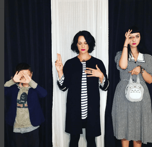 Model Asia Argento is making sure her entire family is doing that Illuminati crap.