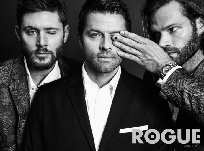 Jared Padalecki, Jensen Ackles and Misha Collins are all blatantly hiding one eye in the same magazine.
