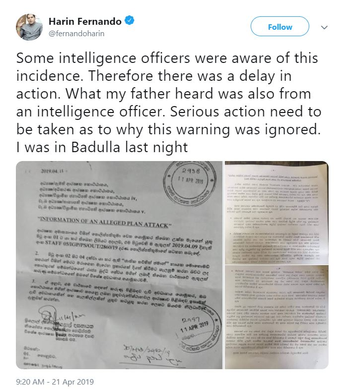 2019 04 22 17 09 09 Harin Fernando on Twitter Some intelligence officers were aware of this incide End of April: Still a Time of Fire and Human Sacrifice