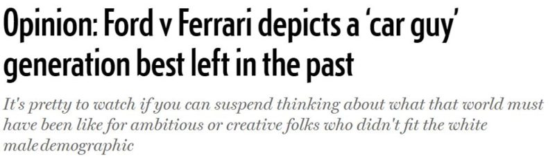 """This Review of """"Ford v Ferrari"""" Reflects the Absurdity of Movie Critics Today"""