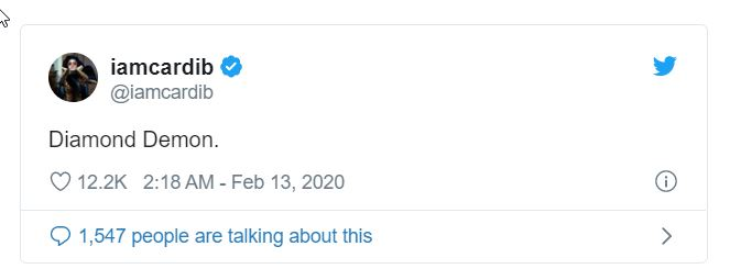 2020 02 17 10 03 31 Cardi B Fans Are Losing Their Minds Over This Tweet Debuting Her 'New Name' BE Symbolic Pics of the Month 02/20