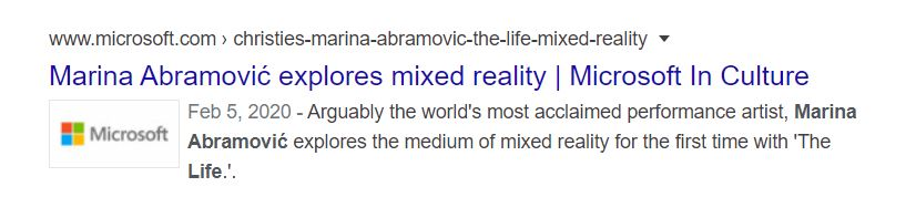 2020 04 13 19 19 38 Marina Abramović's The Life microsoft Google Search Microsoft Releases (and Deletes) an Ad With Elite Occultist Marina Abramovic