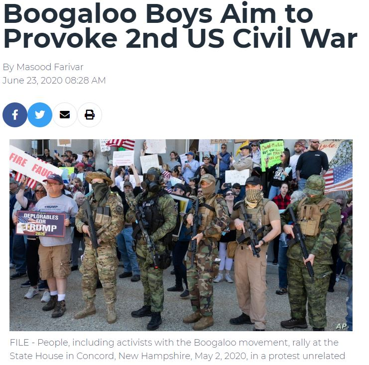 2020 06 24 08 57 03 Boogaloo Boys Aim to Provoke 2nd US Civil War Voice of America English Lebanon Was Torn Apart by a Civil War and the U.S. is Going Down a Similar Path