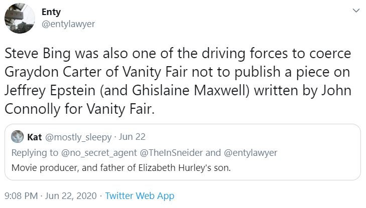 2020 06 26 11 09 11 20 Enty on Twitter Steve Bing was also one of the driving forces to coerce G e1593184193869 Hollywood Producer (and Friend of Jeffrey Epstein) Steve Bing Dead After Falling Off a Building