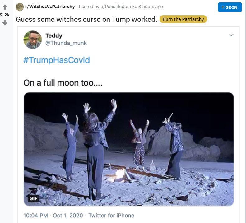 "2020 10 02 09 58 49 e1601662044453 Trump's COVID Tweet Flooded by Satanic ""Curse"" Replies"