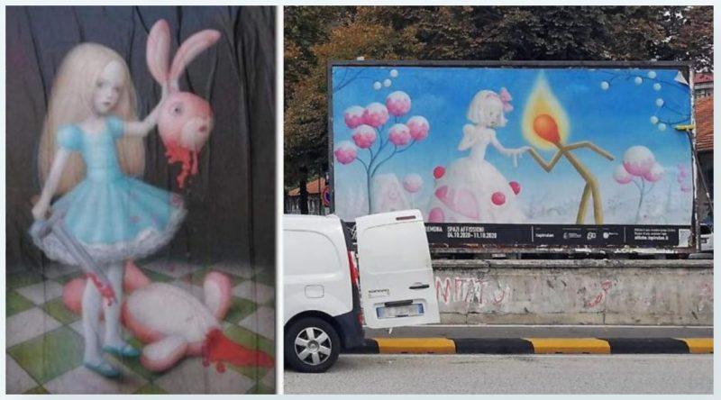 2020 10 14 14 58 09 Cremona la mostra Affiche e le inquietanti immagini di uninfanzia horror e1602701971634 Disturbing MKULTRA and Child Abuse Paintings Displayed on Billboards in Italy