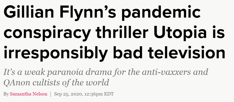 """2020 10 26 21 19 25 Utopia review Gillian Flynns pandemic conspiracy thriller is irresponsibly bad How the Series """"Utopia"""" Eerily Predicted 2020"""