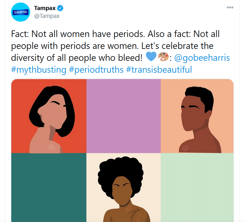 2020 11 11 13 48 46 Tampax on Twitter Fact Not all women have periods. Also a fact Not all peopl Symbolic Pics of the Month 11/20