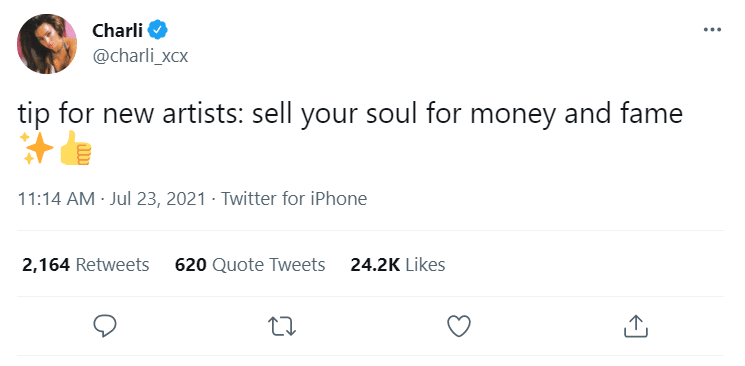 2021 08 02 12 42 42 18 Charli on Twitter tip for new artists sell your soul for money and fame Symbolic Pics of the Month 08/21